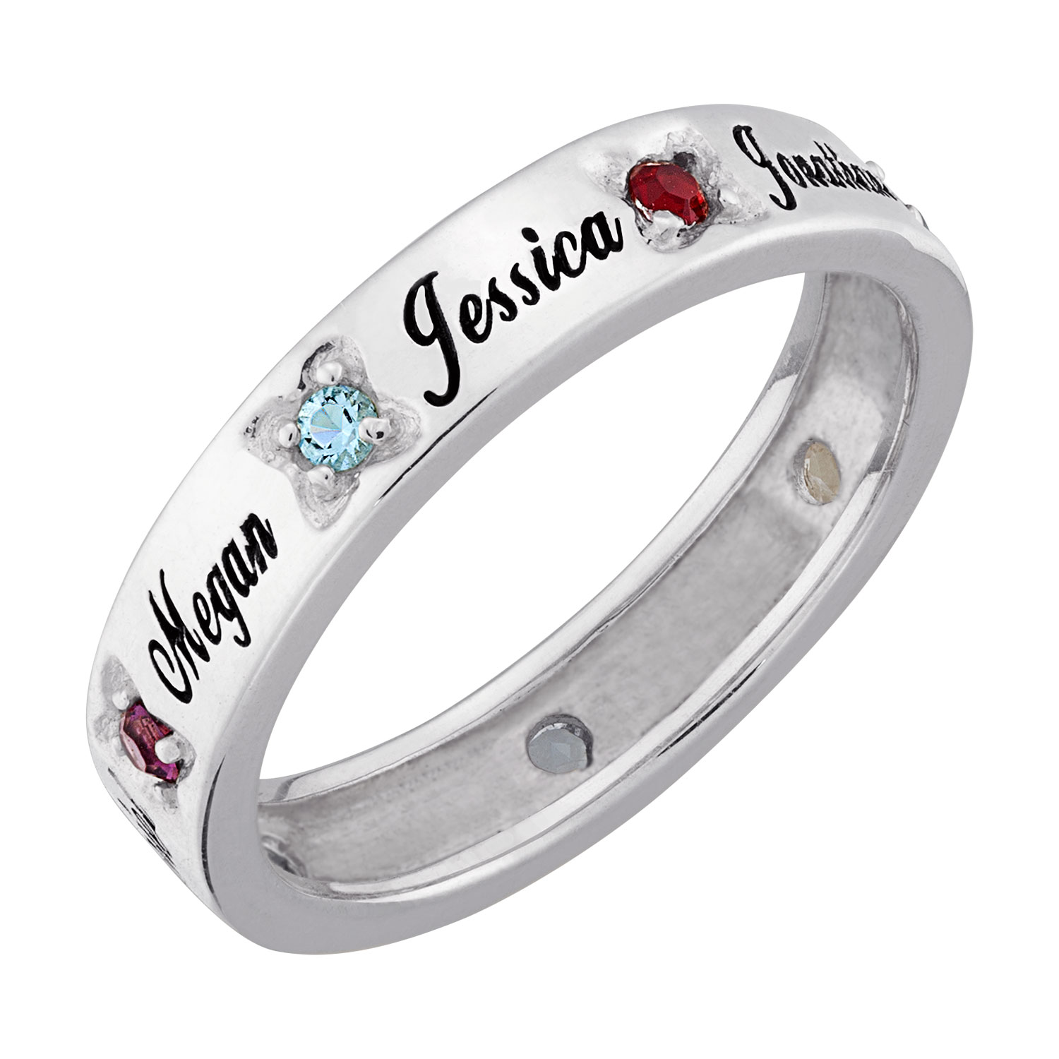 Zales Mothers Simulated Birthstone Flower Band in Sterling Silver (1-7 Stones and Names) Ap7SjhE