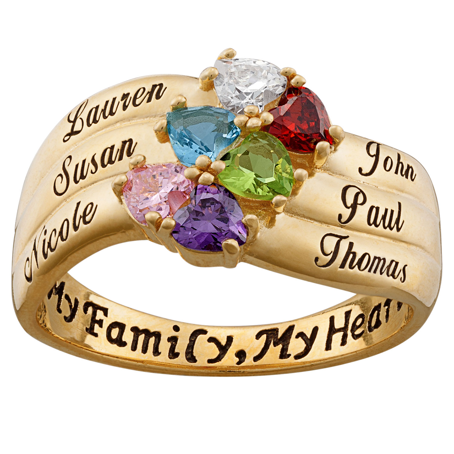 Image result for Mother's Heart-Shaped Simulated Birthstone Ring in Sterling Silver with 18K Gold Plate (2-6 Stones and Names)