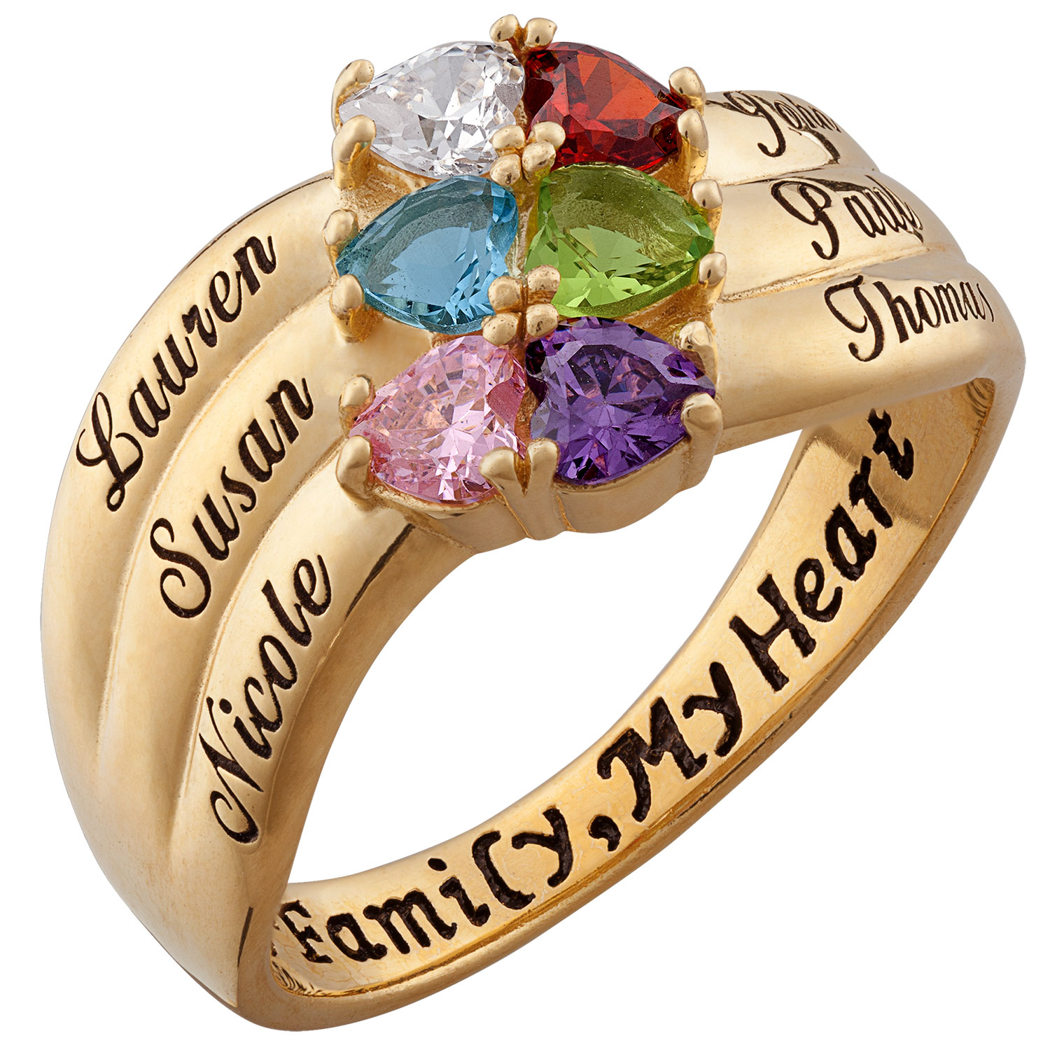 Zales Mothers Heart-Shaped Simulated Birthstone Ring in Sterling Silver with 18K Gold Plate (2-6 Stones and Names) EZRkNFA