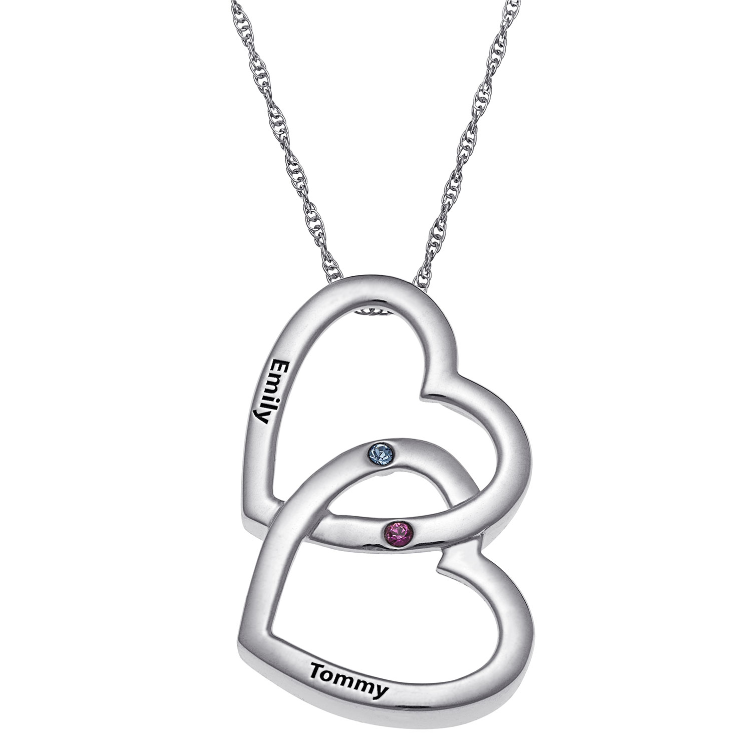 Zales Couples Birthstone Tilted Double Heart Outline Pendant (2 Stones and Names)