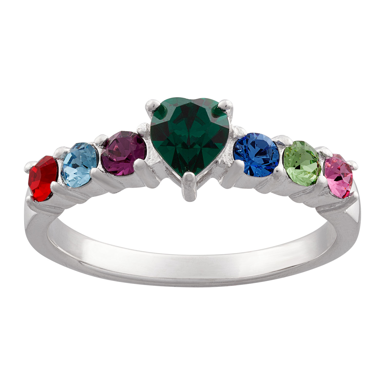 Zales Mothers 3.0mm Birthstone Ring in Sterling Silver (3-7 Stones) DB8yA4F